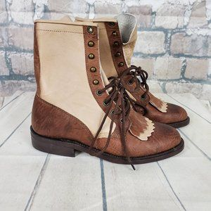 Boulet Lace Up Leather Ankle Boots Size 6 Brown